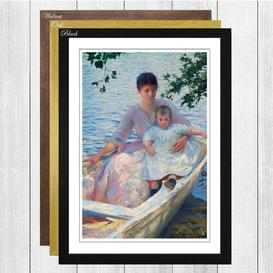 image-'Mother and Child in a Boat' by Edmund C. Tarbell Framed Painting Print Big Box Art Frame Colour: Black