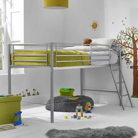 image-Dahlia Silver Metallic Single Bed Mid Sleeper With Angled Ladder