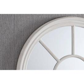 image-Barnsley White Distressed Round Window Pane Mirror 91cm, White