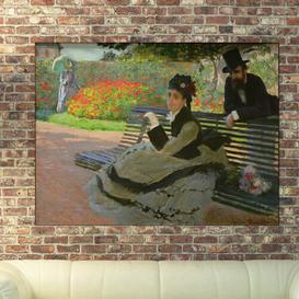 image-'Camille Monet on a Garden Bench' by Claude Monet Painting Print Astoria Grand Size: 90cm H x 120cm W x 1.8cm D