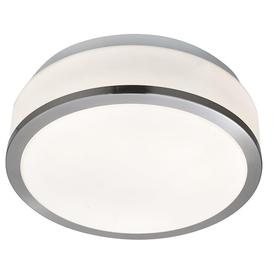 image-Searchlight 7039-23SS Bathroom Flush Modern Satin Silver Light with Opal Glass