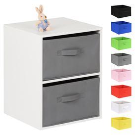 image-Hartleys White 2 Cube Kids Storage Unit & 2 Handled Box Drawers - Grey