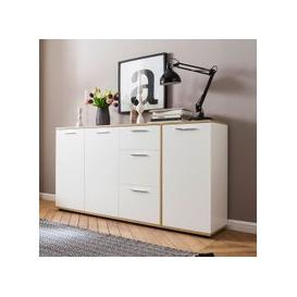 image-Bayley Wooden Sideboard Wide In White And Light Oak And 3 Doors