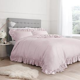 image-Bianca 100% Cotton Blush Relaxed Frills Duvet Cover and Pillowcase Set Blush (Pink)
