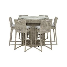 image-Hathaway Garden 6 Seat Round Bar Set With Ice Bucket, Light Grey and Grey Fabric