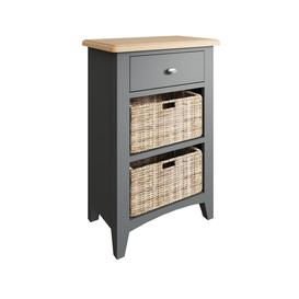 image-Galaxy Grey Painted Furniture Oak 1 Drawer 2 Basket Cabinet