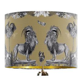 image-Classical Jungle Lion 40cm Cotton Drum Table Lamp Shade Bloomsbury Market Colour: Gold