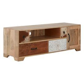 image-Mallani Bohemian Furniture Mango Wood Leather Media Unit