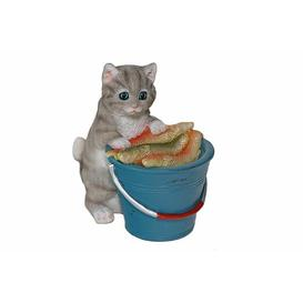image-Kitten With A Bucket Full Of Fish Crandall Figurine