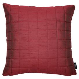 image-Rocco Square Quilted Wine Red Silk Cushion, Polyester Filler / 43cm x 43cm