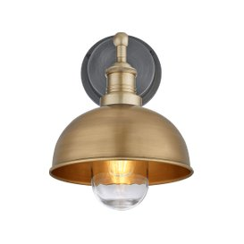 image-Industville Brooklyn Outdoor & Bathroom Dome Wall Light - 8 Inch - Brass / Pewter