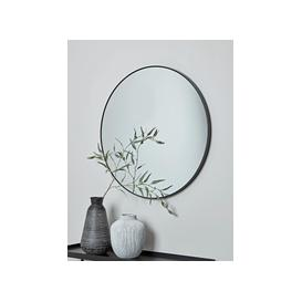 image-Slim Black Frame Round Mirror