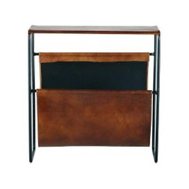 image-Black Metal and Leather Magazine Rack