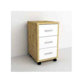 image-Dalton Office Cabinet In Artisan Oak And White With 3 Drawers