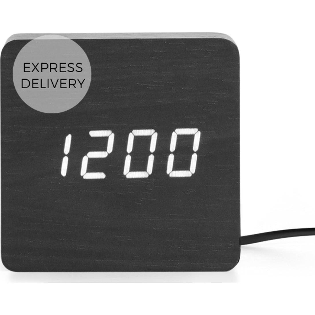 image-Odette Square Alarm Clock, Black
