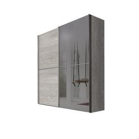 image-Bentz 2 Door Sliding Wardrobe Ebern Designs Body and front colour: Platinum oak colours/Grey, Size: 236cm H x 250cm W x 68cm D
