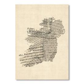 image-Old Sheet Music Map of Ireland Map Graphic art Americanflat