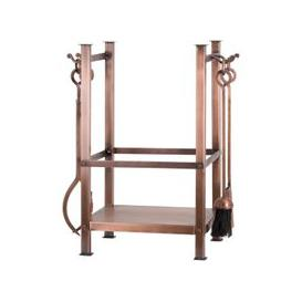 image-Copper Finish Square Log Holder With Companion Set