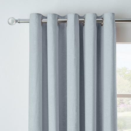 image-Chenille Blue Blackout Eyelet Curtains Blue