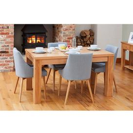 image-Mobel Oak Furniture 150cm Four Seater Dining Table & Grey Chair Set