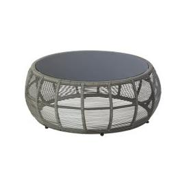 image-Round Resin Wicker and Grey Glass Garden Coffee Table Tamarin