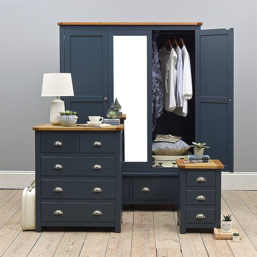 image-Westcote Blue Triple Wardrobe Bedroom Set