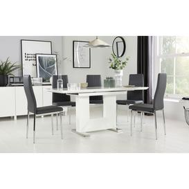 image-Florence White High Gloss Extending Dining Table with 6 Leon Grey Leather Chairs