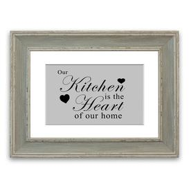 image-'Our Kitchen Is the Heart' Framed Typography in Light Grey East Urban Home Size: 93 cm H x 126 cm W, Frame Options: Blue