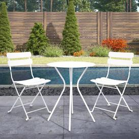 image-Cosco Outdoor Living White Metal Bistro Set with Metal Fixed Round Table and 2 Folding Chairs