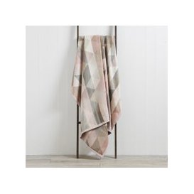 image-Thermosoft Pink Geo 220cm x 240cm Blanket Pink, Grey and White