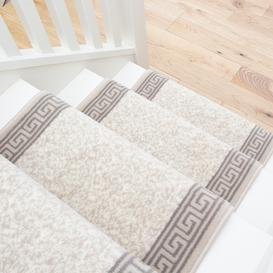 image-Cream Bordered Stair Carpet Runner - Cut to Measure