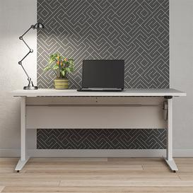 image-Prax Electric 150cm Computer Desk In White With Silver Grey Legs