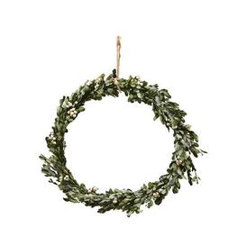 image-Misteltoe Large Christmas wreath - / Ø 35 cm - Artificial boxwood & berries by House Doctor Green