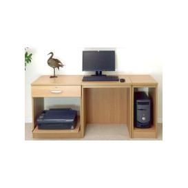 image-Small Office Desk Set With Single Drawer, Printer Shelf & CPU Unit (Classic Oak)