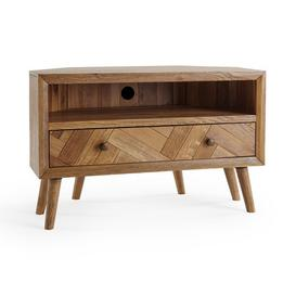 image-Brushed and Glazed Solid Oak TV Cabinets - Corner TV Unit - Parquet Range - Oak Furnitureland