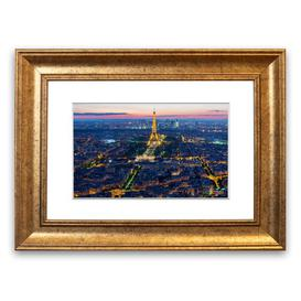 image-'Eiffel Tower Night Light Cornwall' Framed Photograpic Print East Urban Home Size: 40 cm H x 50 cm W, Frame Options: Gold