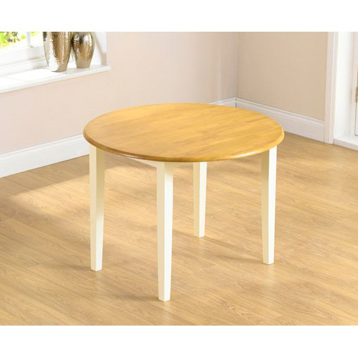 image-Genoa 100cm Oak and Cream Drop Leaf Extending Dining Table
