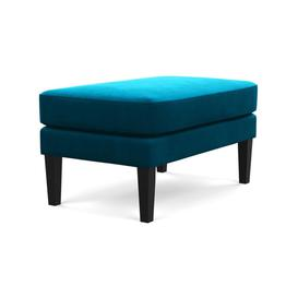image-Heal's Richmond Ottoman Smart Luxe Velvet Azure Natural Ash Feet