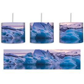 image-Beautiful Iceberg Landscape 1-Light Drum Pendant East Urban Home Shade colour: Blue