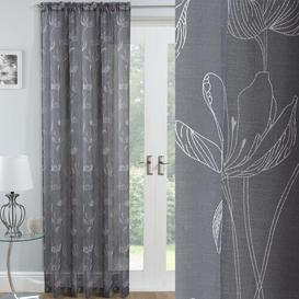 image-Linda Slot Top Sheer Curtain Brambly Cottage Colour: Grey, Panel Size: 140 W x 229 D cm