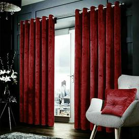 image-Crushed Velvet Eyelet Room Darkening Curtains Willa Arlo Interiors Colour: Burgundy, Panel Size: 117 W x 137 D cm