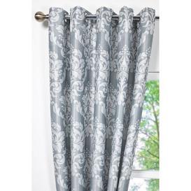 image-Hallam Damask Lined Eyelet Curtains