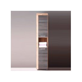 image-Wildon Tall Bathroom Cabinet In Walnut And Touch Wood Dark Brown