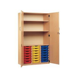 image-21 Tray Storage Cupboard With Full Doors, Red/Blue/Yellow, Free Standard Delivery