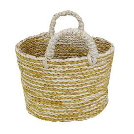image-Elements Oval Ochre Stripe Basket Yellow and White