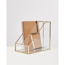 image-Maka Gold & Glass Desk Organiser