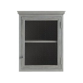 image-Grey Acacia Wood Kitchen Wall Cabinet, Left-Opening W60 Zinc