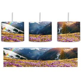 image-Mountain Landscape with a Rainbow and Crocuses 1-Light Drum Pendant East Urban Home Shade Colour: Blue/Yellow/Pink