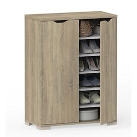 image-Eko 24 Pair Shoe Storage Cabinet Ebern Designs Finish: Oak Cambrian