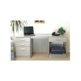 image-Small Office Desk Set With 3+1 Drawers & Printer Shelf (Grey Nebraska)